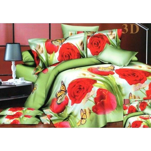 Zelené obliečky na posteľ z mikrovlákna s červenými ružami