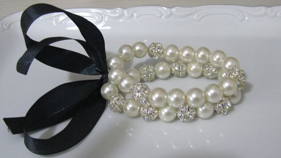Rhinestone and pearl bracelets with black silk ribbon - Bridal bracelets - Bridesmaid bracelets