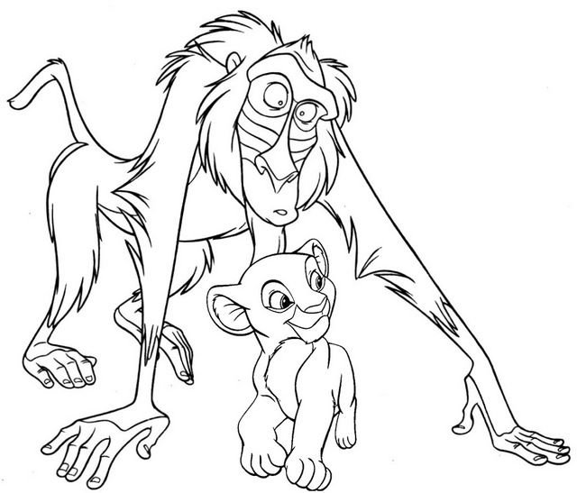 Simba With Rafiki Coloring Page Horse Coloring Pages Disney