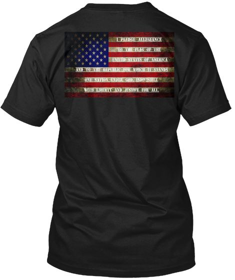 The Flag Of America Black T-Shirt Back