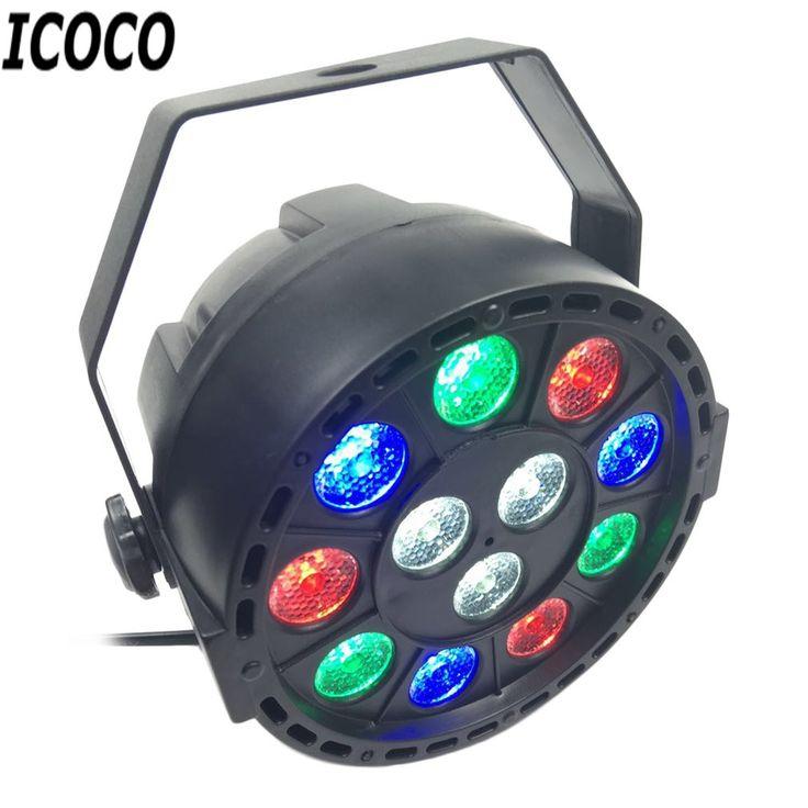 ICOCO 12*1W LED Flat Plastic RGB LED Stage Light 4 Control Model Lighting for Party Bar KTV Flash Deal Sale for US/EU/AU/UK Plug #Affiliate