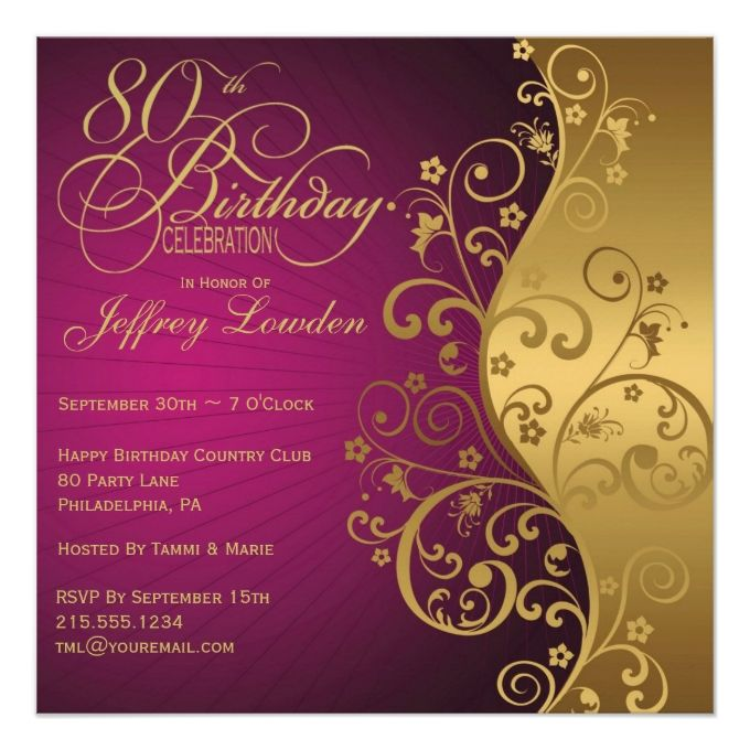 1432 best 80th Birthday Invitations images on Pinterest