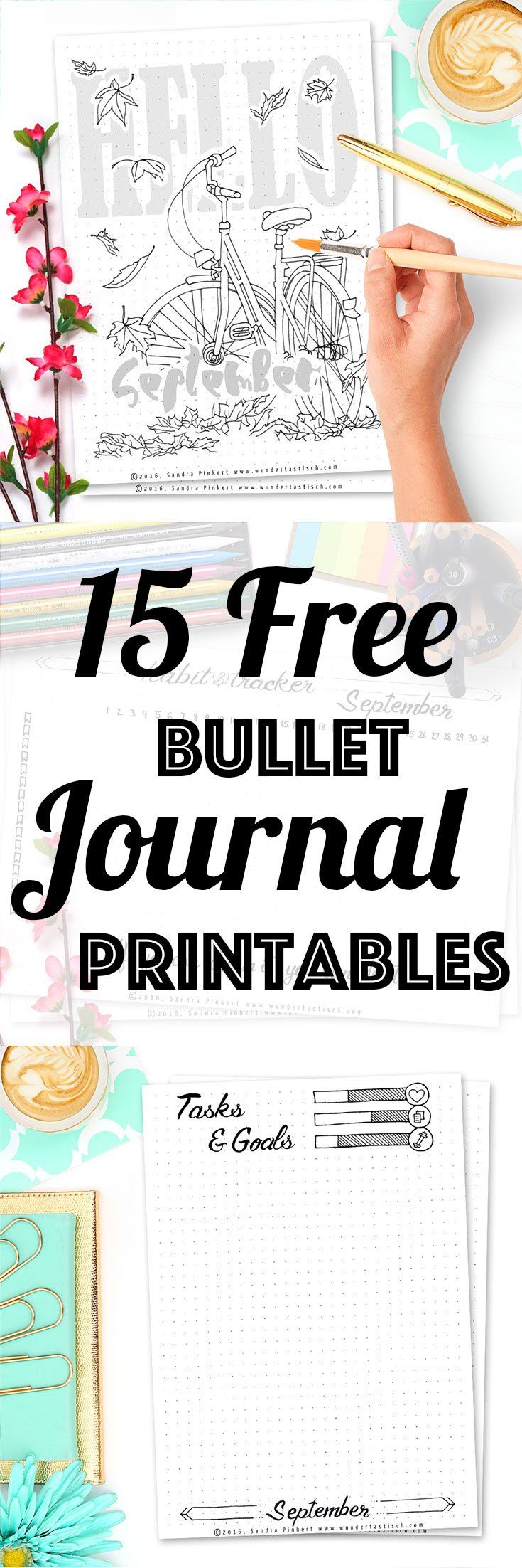 15 Free Printable Pages For Your Bullet Journal SetUp September 2016. Including…