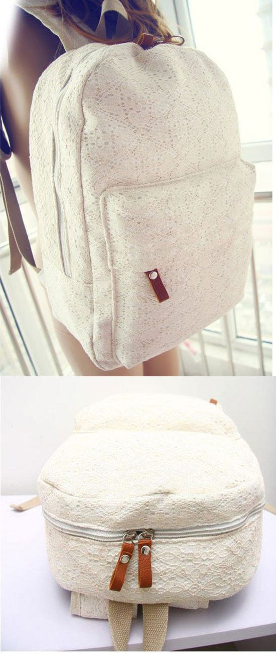 I like this bag! New Pretty Floral Lace Backpack #lace #white #floral #backpack #bag #school