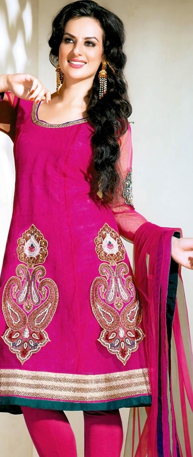 Rani #Pink Net Churidar #Kameez @ $137.44