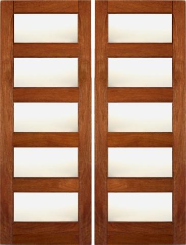 660 Prehung Slab Tempered Single Glazed Mahogany Wood