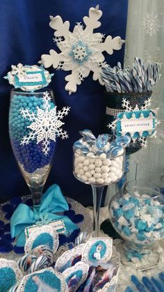 Blue and white candy at a Frozen birthday party! See more party planning ideas at CatchMyParty.com!