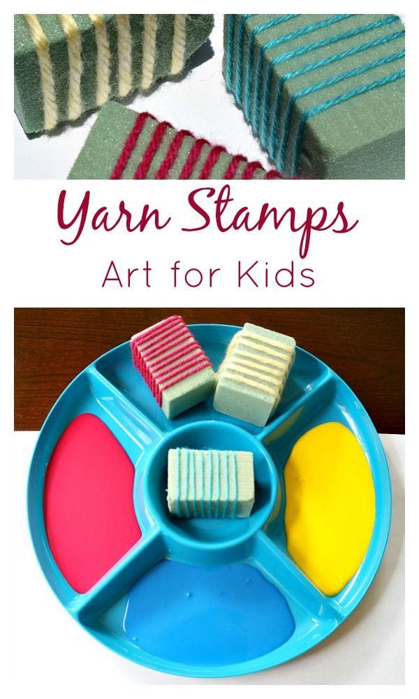 Yarn Stamps Art for Kids - simple, yet satisfying.