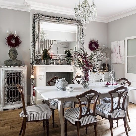 Black, white and red Christmas dining room