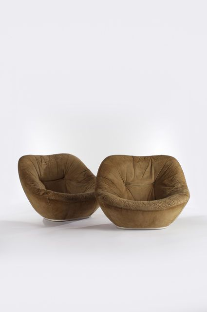 Pierre Paulin; Suede Lounge Chairs, 1960s.