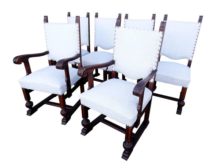 Set of Six Vintage Solid Reupholstered Jacobean Style Oak Dining Room Chairs #ReupholsterChair