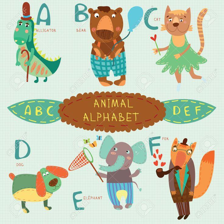 Симпатичные животные алфавит. A, B, C, D, E, F писем. Аллигатор, медведь, кошка, собака, слон, Fox.Alphabet дизайн в красочный стиль. Клипарты, векторы, и Набор Иллюстраций Без Оплаты Отчислений. Image 36002792.
