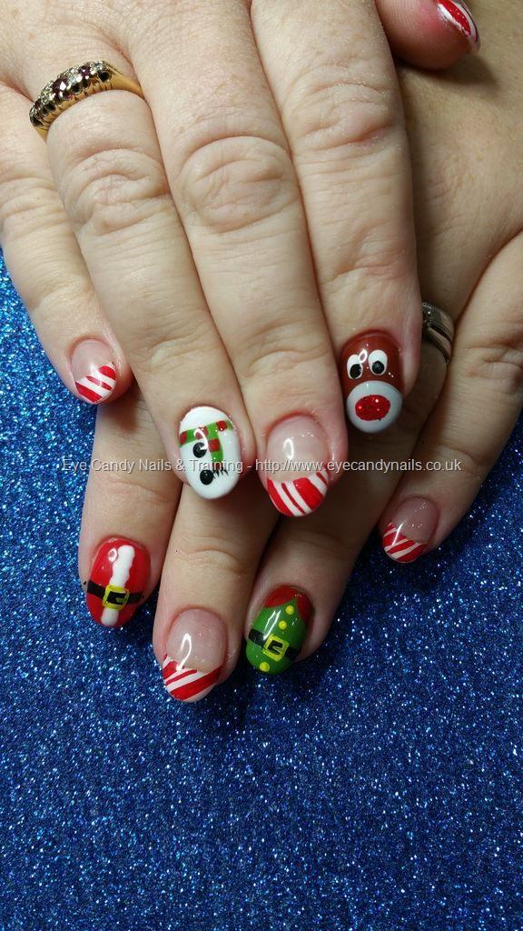 Christmas snowman, rudolf, santa and elf with candy cane tips.