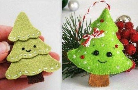 Jolis modèles de petits sapins de Noël en feutrine. Plus
