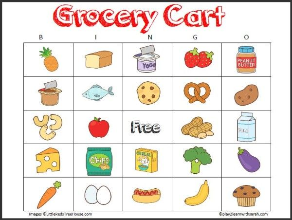 Grocery Cart Bingo Free Printable- fun ways to keep kids entertained at the grocery store. Pinning this for summer when I have to take all the kids grocery shopping with me!