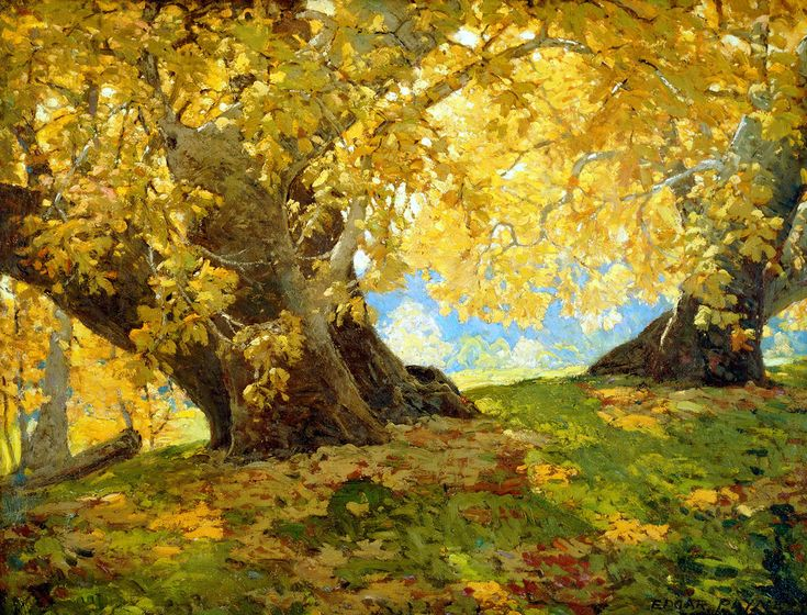 "« Sycomore in Autumn, Orange ""County Park"", tableau d'Edgar Payne (1882-1947), réalisé vers 1917"