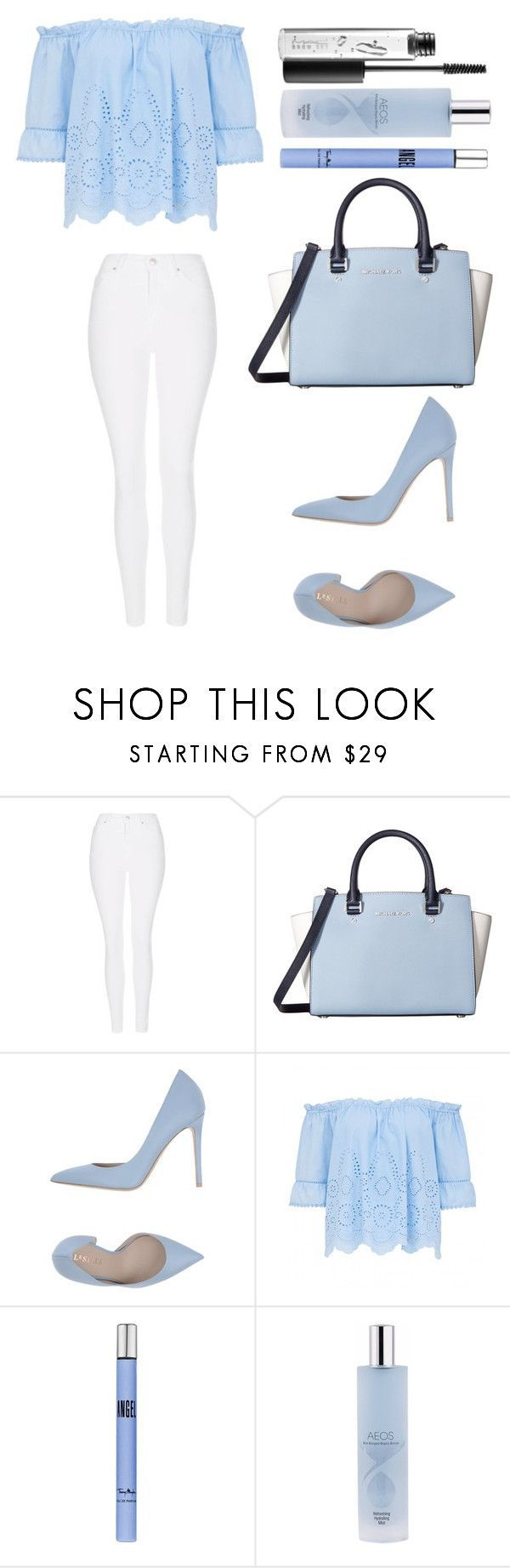"""Untitled #2269"" by ordinarydays ❤ liked on Polyvore featuring Topshop, MICHAEL Michael Kors, Le Silla, Thierry Mugler, AEOS and MAC Cosmetics"