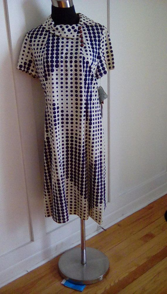 Unique Blue And White Vintage Lord And Taylor Dress Made With Arnel