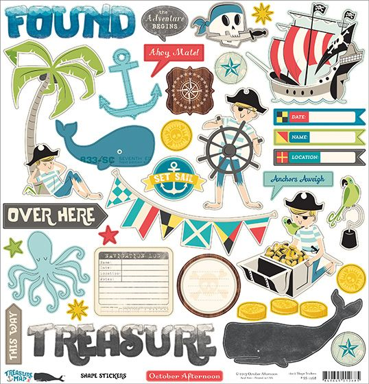 """October Afternoon """"Treasure Map"""" stickers"""