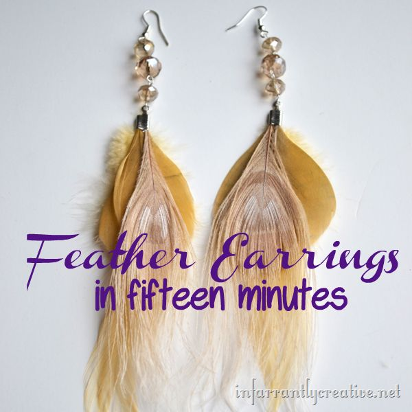 a DIY Feather Earrings tutorial featured on infarrantlycreative.net!  Get a wide variety of feathers to use at CFF: http://www.craftsfeathersfloral.com/home/cff/smartlist_1144/feather_picks.html