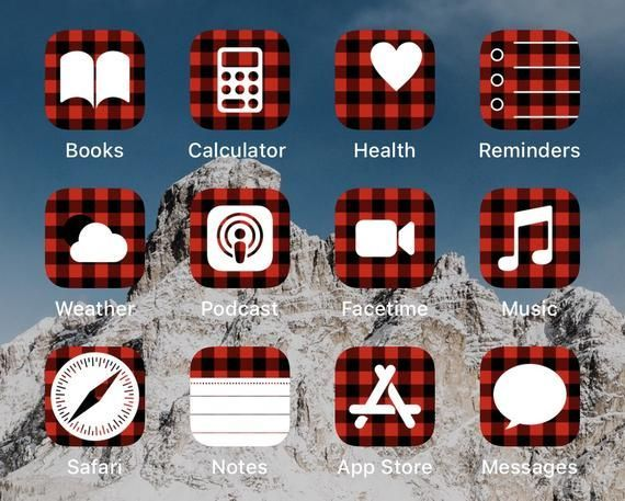 Buffalo Plaid Iphone App Icons Aesthetic Digital Download Set Of 20 App Icons Ios 14 App Icons App Icon Holiday Iphone Wallpaper Iphone Apps