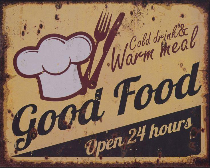 METALEN BORDEN : Good Food Open 24 Hours metalen bord
