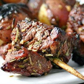 Rib-Eye, New Potato and Portobello Kebabs
