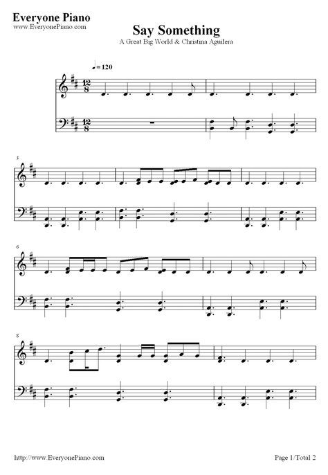 Say Something-A Great Big World.....sheet music. Thanks Malia, I am so gonna start working out notes on this. Its key of D!! So easy!!!