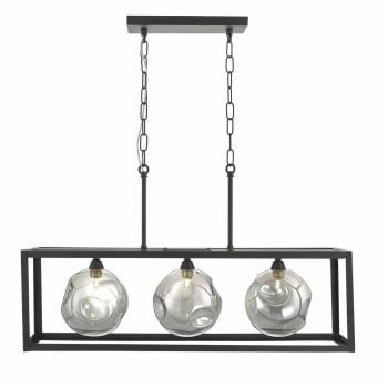 A stylish new ceiling pendant bar in black. An angular frame surrounds three organic shaped globes in smoke and mirror glass. This looks superb over a kitchen island or dining table. This light is double insulated, ensuring that it is safe to use in homes without an earth cable. The suspension can be adjusted at the point of installation to suit most ceiling heights.