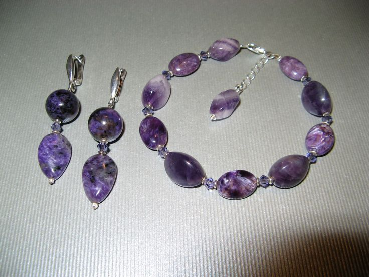 Charoite and amethyst jewelry