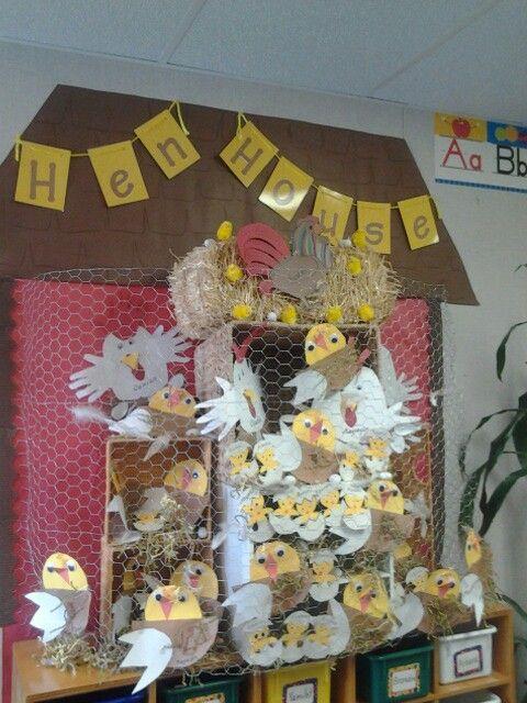 Hen house bulletin board for Farm themed classroom...