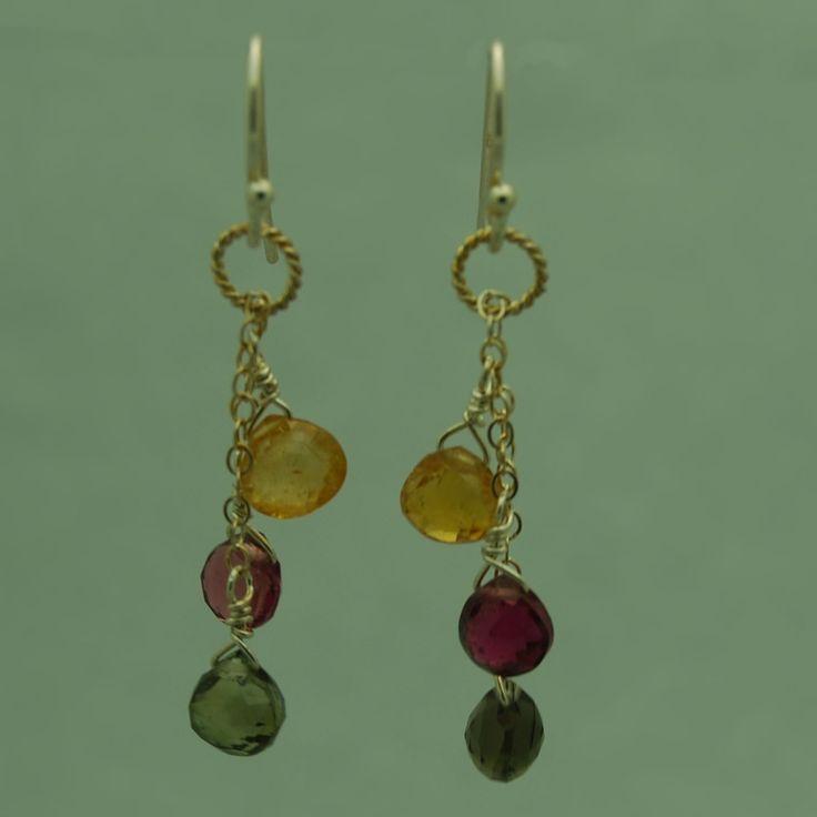 Three Colors Tourmaline Earrings