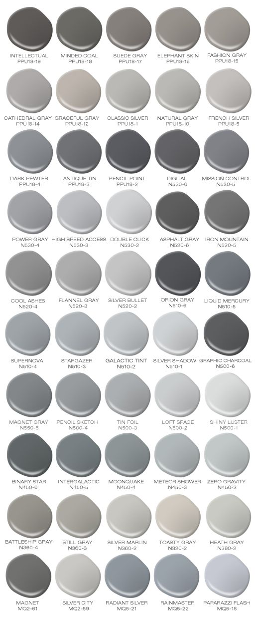I Would Paint Every Room In My House A Different Color Grey! Colorfully  BEHR Has Compiled A Safe For Work Version Of 50 Shades Of Grey ...
