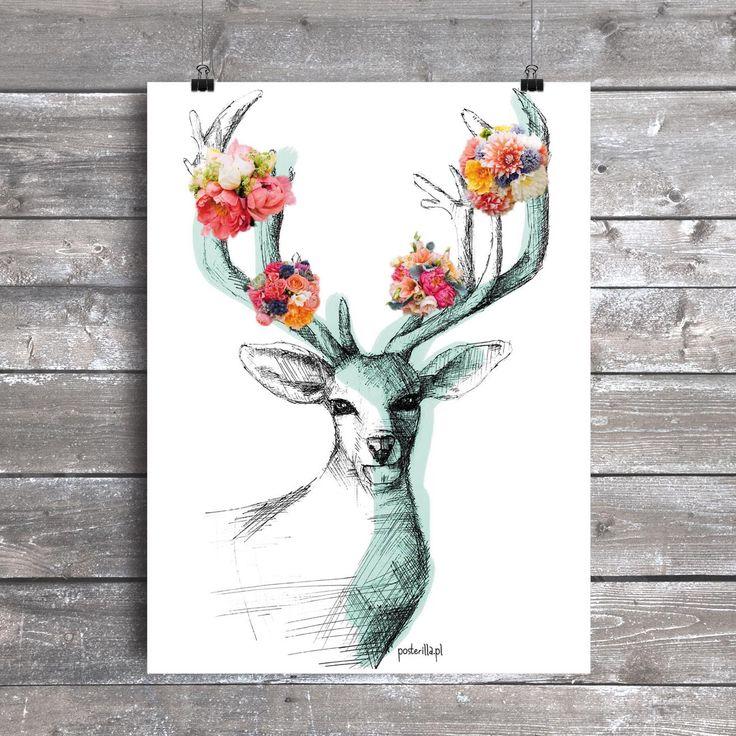 Plakat z autorską grafiką: Oh my deer mint