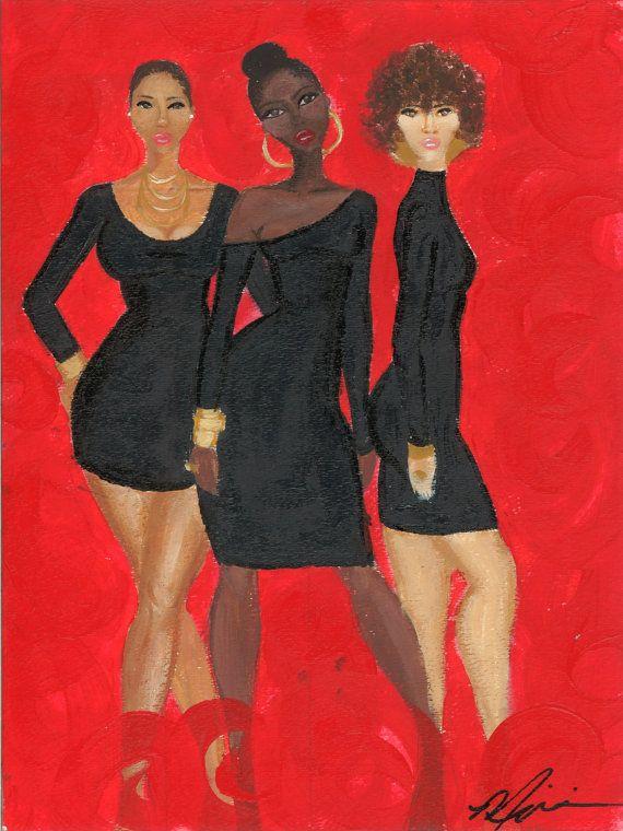 African American women print by Miarri Dene by MiarriDene on Etsy, $20.00 #blackart #africanamericanart #painting