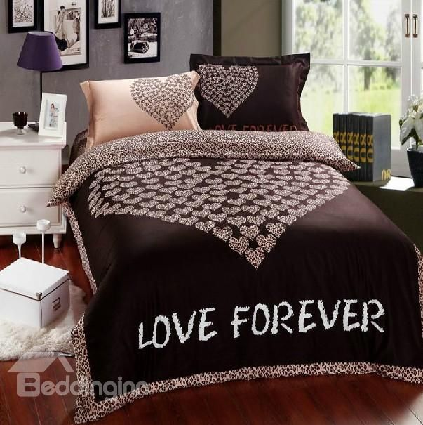 85 79 100 Cotton Love Heart Print Brown Bedding Sets 4