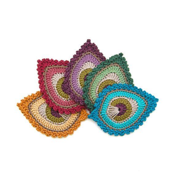 "Pluma de pavo real patrón de ganchillo adorno ""Java"" - nivel principiantes - diseño Original"