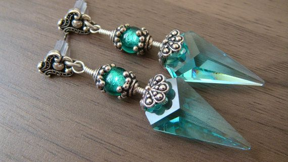 Blue Green Swarovski Earrings Vintage Earrings by JulianaJewelry