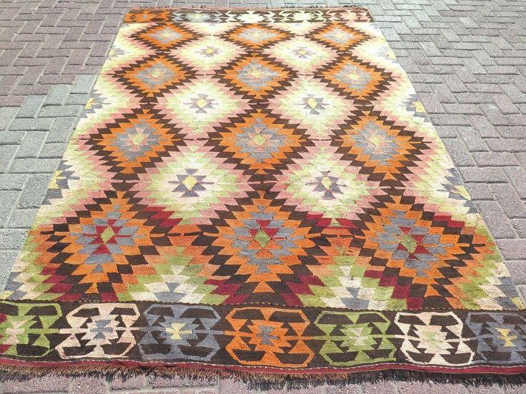 "Beautiful Rug!  Anatolia Turkish Antalya (Barak) Kilim 67,3"" x 101,5"" Area Rug Carpet Kilim Rugs #Turkish"