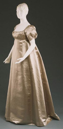 """1809 American (Pennsylvania) Quaker Wedding dress at the Philadelphia Museum of Art, Philadelphia - From the curators' comments: """"The wedding dress, while devoid of superfluous ornament, is made of an elegant silk and fashion conscious: a high waist and short puffed sleeves were a la mode in 1809. For the wedding ceremony at the meeting house, bonnets with veils and neckerchiefs would also have been worn."""""""