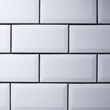 White Subway Tile Charcoal Grout White Grey Black