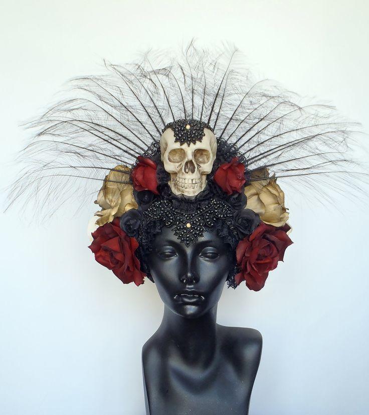 Day of the Dead Skull & Flower Headdress