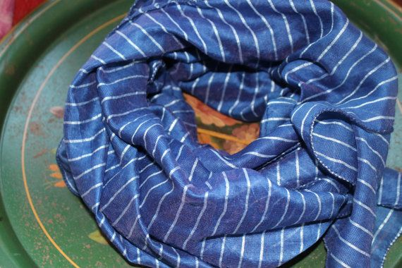 Mayil blue scarves - blue silk blend scarf blue striped scarf unique scarves gift for women handmade spring scarves with stripes for summer