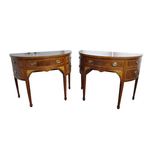 Baker Furniture Satinwood And Mahogany Demilune Server Tables