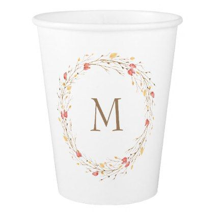 Fall Twig Wreath Monogram Paper Cup - monogram gifts unique design style monogrammed diy cyo customize