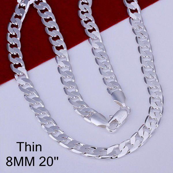 8 MM 16-24 pollice Link catena uomini collana, prezzo di fabbrica, moda gioielli da uomo in argento, 925 sterling silver collana della catena per gli uomini