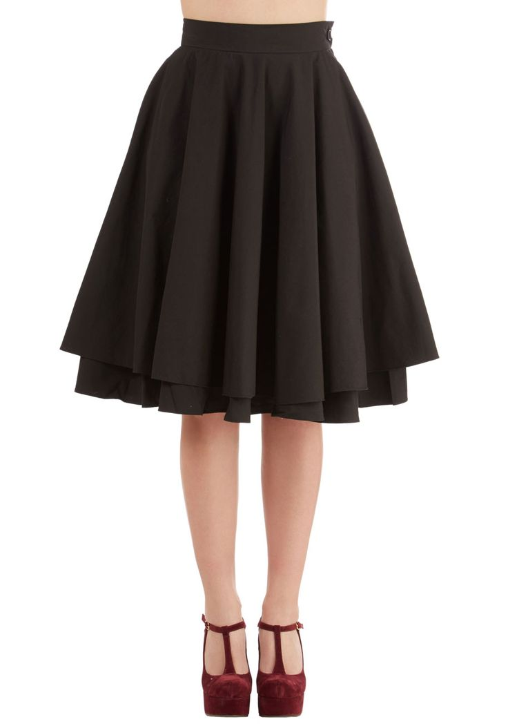 Essential Elegance Skirt in Black. An elegantly full noir skirt is the perfect accompaniment for a variety of ensembles, making this basic, but hardly boring, black circle skirt - a style found exclusively at ModCloth - a sartorial must-have. #black #modcloth