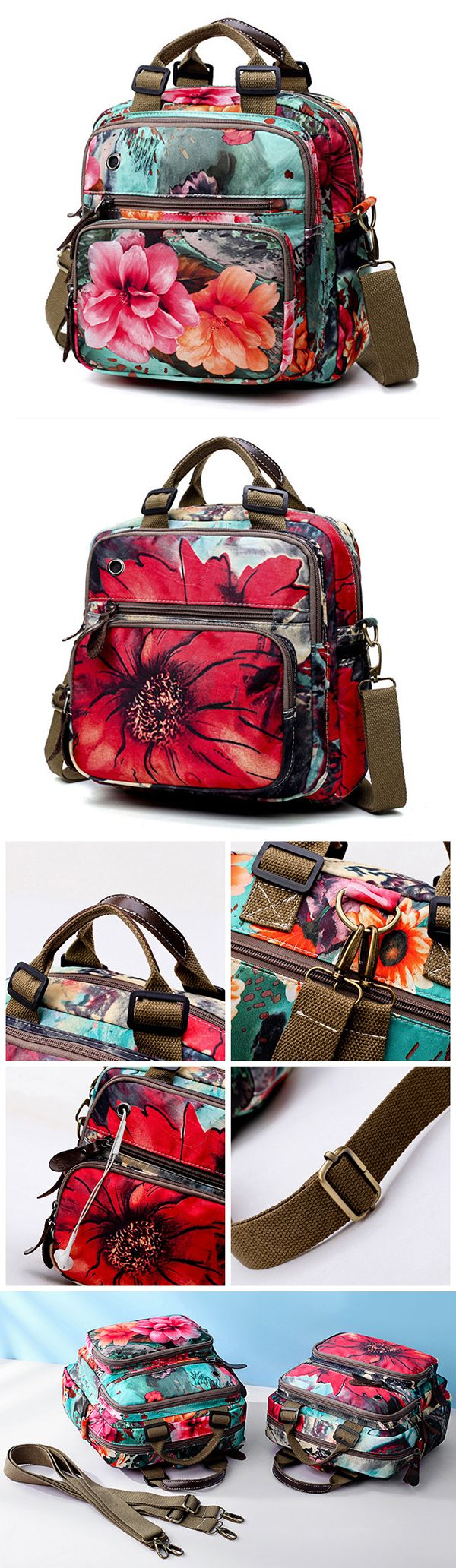 Flower Pattern Shoulder Bag/Crossbody Bag/Mommy Backpack #fashion #outdoors #style #love