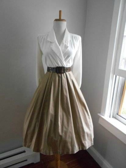 VTG 50s 80s Cotton Full Skirt LUCY PINUP Party DAY SECRETARY Shirt WRAP Dress