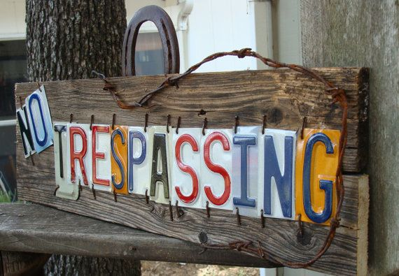 This actual sign has sold. You will receive one as similer as possible. Colors of the plates will vary but I will try and use the most colorful ones I can find:) This is a hand crafted ,hand cut original No Trespassing License Plate Sign. It is made out of an couple of old pieces of Vintage Barnwood. I personally cut each plate and hand nailed each letter to display No Trespassing. I accented it with some Rusty Old Barbed Wire and Horseshoe Hanger.The letters came from numerous different…